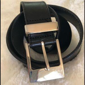 Ann Taylor deep chestnut belt with silver hardware